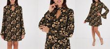 New Women Black Floral Print Keyhole Chiffon Dress UK