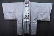 Vintage Men's Grey Silk/Wool Mix Kimono/Haori/Jacket/Coat 'Samurai Scenery' L/XL