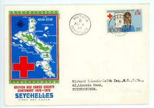 1970 Seychelles Red Cross FIrst Day Cover from Victoria to Peterborough