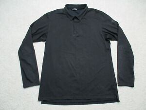 Arcteryx Polo Shirt Mens Large Black Long Sleeve Snap Button Embroidered Logo