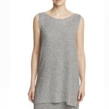 Eileen Fisher Bateau Boat Neck Sleeveless Tunic Silver Black Petite Large