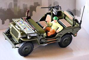 Willys Jeep 4x4 W open Top + Gun & Man 1942-45 USA Army Military 1:43