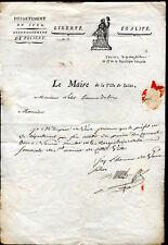 lettre ancienne Poligny au Maire de la ville de Salins .l'AN 12 de la République