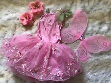 Curtain Call Pink Ballerina Fairy Dance Costume & Wings Flowers Sz 5/6 6C