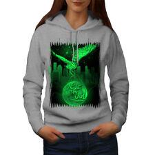 Wellcoda Owl Night City Animal Womens Hoodie, City Casual Hooded Sweatshirt
