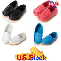 Boys Girls Boat Sneakers Flat Oxford Shoes Kids Baby PU Leather Slip On Loafers