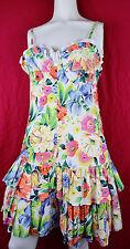 Vintage 80s Mondi Floral Tiered Summer Dress Ruffle