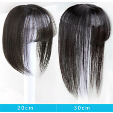 UK HOT Handmade Top Piece With Bang Human Hair Clip in Topper Cover Loss Hair