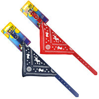 Red or Blue Adjustable Pet Puppy Dog Collar with Bandana Neckerchief 3 sizes