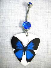 - 14g Blue Cz Belly Ring Barbell Cobalt Blue Open Wings Butterfly Guitar Pick