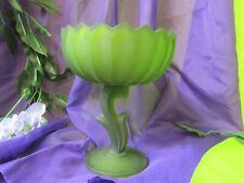 Vintage Indiana Green Glass Lotus Pedestal Bowl GA-15