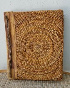 Handmade Natural  Paper & Wood Photo Album Twisted Rope Cover