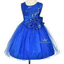 Blue Sequined Scoop Formal Dress Flower Girl Wedding Occasion Party Size 5 FG314