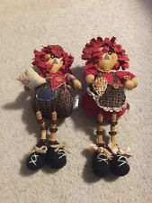 Raggedy Ann and Andy Country Style With Buttons And Wooden Spools