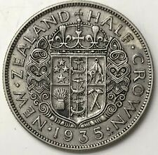 1935 Silver New Zealand Half Crown King George V Colonial Coin XF
