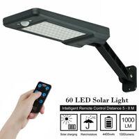 60LED Solar Wall Street Light Dimmable PIR Motion Sensor Outdoor Garden Lamp