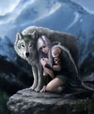 The Protector Wolf Signature Queen Size Plush Blanket by Anne Stokes