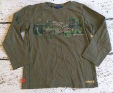 NAARTJIE Boys Green Lets Go Camping Tee Long Sleeve XL 7 EUC