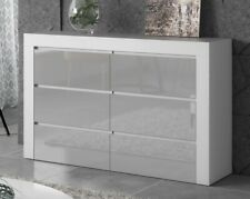 Chest of 6 Drawers  Sidebord TV unit cabinet storage Gray Gloss Fronts