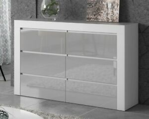 Chest of 6 Drawers  Sideboard TV unit cabinet storage Gray Gloss Fronts