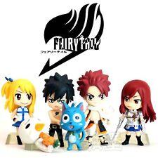 Set 6p Japanese Anime Fairy tail Natsu Happy Lucy Gray Elza Figure Figurine 6cm