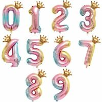 Rainbow Number Balloon 40 Inch Princess Crown Girl Lockdown Birthday Party Decor
