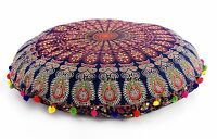 """Ethnic Indian Round Floor Cushion Cover Large Pillow Case Pouf Ottoman Sham 32"""""""