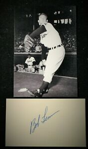 Vintage 1950s Playing Days Bob Lemon Indians Signed Card HOF D 2000 JSA Auth