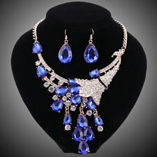 Women Gold Plated Blue Crystal Flower Wedding Party Necklace Earring Jewelry Set