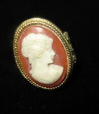 Vintage Avon Faux Cameo Ring Perfume Locket Adjustable Goldtone