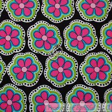 BonEful Fabric Fq Cotton Corduroy Black White B&W Pink Green Dot L Flower Stripe