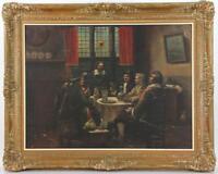 Dutchmen Drinking, Oil on Canvas Antique Painting