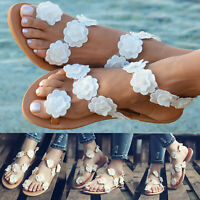 Womens White Boho Flower Sandals Flat Beach Slippers Flip Flops Toe Ring Shoes
