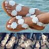 Damen Flache Sandalen Sandaletten Zehentrenner Blumen Freizeit Sommerschuhe Mode