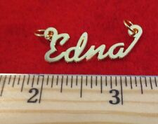"""14KT GOLD EP """"EDNA"""" PERSONALIZED NAME PLATE WORD CHARM PENDANT 6118"""