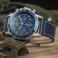 MDC Mens Analog Wrist Watch Lumnious Chronograph Military Sport Black Leather