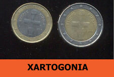 GREECE 2008, CYPRUS, 1 AND 2 EUROS COINS  VG-F, (2 coins)