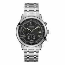 Guess Watches Guess Gents Silver Watch Black Chronograph Dial W1001G4