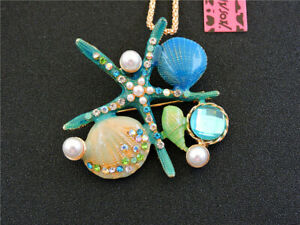 Hot Blue Enamel Starfish Shell Pearl Crystal Pendant Betsey Johnson Necklace