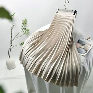 Women Solid Pleated Skirt High Waist Elastic Waist Skirt Party Wear Clothing