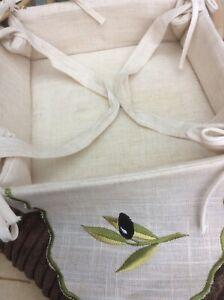 Square Bread Roll Holder. Embroidered Olive Design
