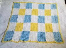BLUE, WHITE AND YELLOW CROCHETED BABY BLANKET