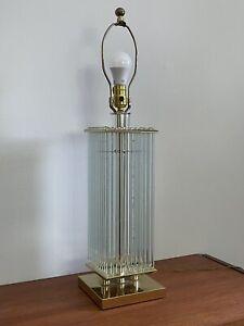 MID-CENTURY MODERN 1970s Gaetano SCIOLARI Brass & Glass Rod Table Lamp ~ Italy