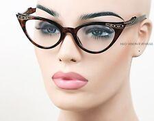 Rhinestone Cat Eye Womens Glasses 50s Vintage Style Clear Tortoise K17 CL