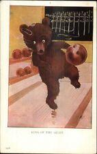 MDS Teddy Bear Fantasy Bowling & Smoking a Cigar c1910 Postcard