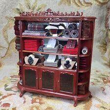 Bespaq/Pat Tyler Dollhouse Miniature Filled Bookcase Shelf Hutch China Cabinet