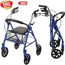 Blue Heavy Duty Rollator Walker with Wheels 300 lbs Cap Basket Adult Padded Seat