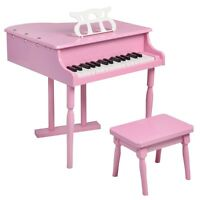 Black / Pink 30 keys Childs Toy Grand Baby Piano with Kids Pinao Bench Wood New