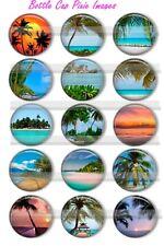 Tropical Beach Sunrise Sunsets Exotic fantasy vacation15Precut Bottle Cap Images