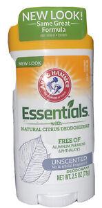 4 Pack - Arm & Hammer Essentials Unscented Deodorant - 2.5 oz / 71 g each